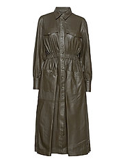 Lily thin leather dress - DARK GREEN