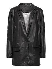 Coco thin leather blazer - BLACK