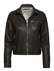 Carli thin leather jacket - BLACK