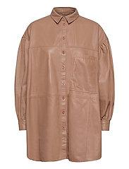 Emma leather shirt - PRALINE