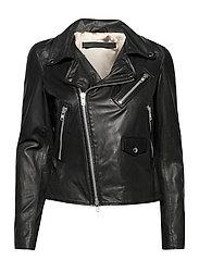 Bronco thin leather jacket - BLACK