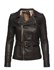Haumea thin leather jacket (black) - BLACK
