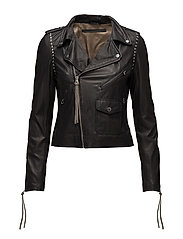 Patti studs thin leather jacket - BLACK