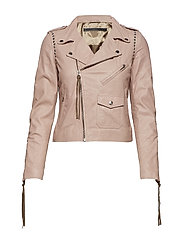 Patti studs thin leather jacket - MUSHROOM