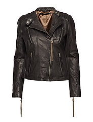 New thin summer biker jacket (black w/suede) - BLACK