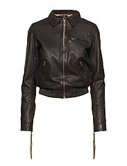 Paris rib thin jacket (black) - BLACK