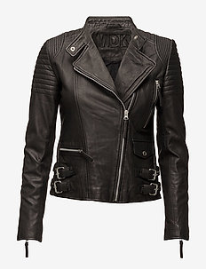 City biker leather jacket - skinnjackor - black