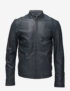 Pede leather jacket - NAVY