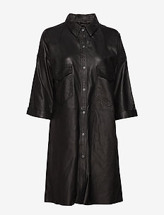Betty leather shirt (black) - tuniki - black