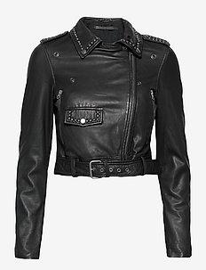 Aia leather jacket - skinnjackor - black