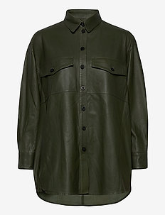 Agnes thin leather shirt - overshirts - cypress