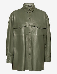 Agnes thin leather shirt - overshirts - four leaf clover