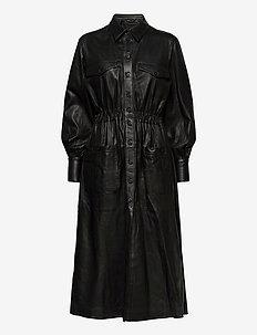Lily thin leather dress - skjortklänningar - black