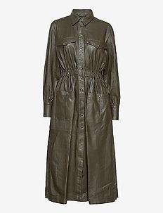 Lily thin leather dress - midi kjoler - dark green