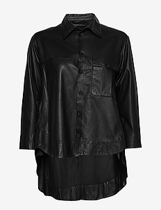 Maria thin leather shirt (black) - dugim rękawem - black