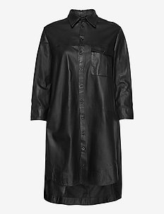 Chili thin leather dress (black) - shirt dresses - black