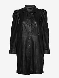 Puff thin leather dress (black) - shirt dresses - black