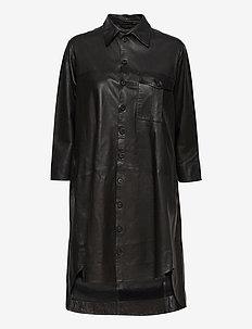Chili thin leather dress - korta klänningar - black