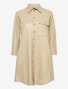 Chili thin leather dress - korta klänningar - pale khaki