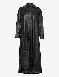 Nuka thin leather dress - skjortklänningar - black