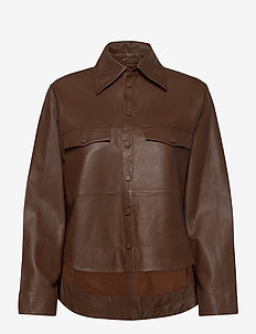 Naomi thin leather shirt - overshirts - monks robe