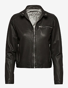 Carli thin leather jacket - nahkatakit - black