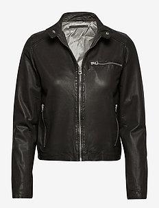 Carli thin leather jacket - leren jassen - black