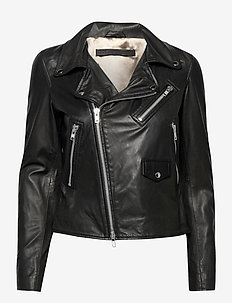Bronco thin leather jacket - skinnjackor - black