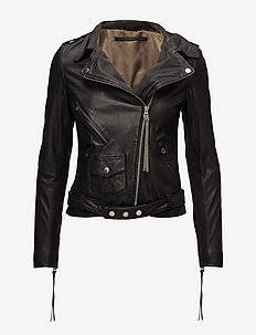 London thin leather jacket - skinnjackor - black