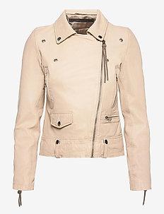 Seattle new thin leather jacket (yellow) - skinnjackor - sand shell