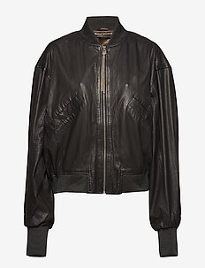 Tilde thin bomber jacket (black) - kurtki skórzane - black