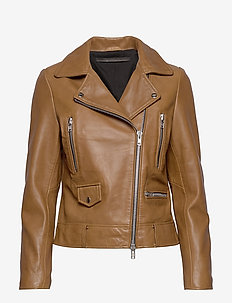 Frida vegetal leather jacket (dark green) - leather jackets - tobacco