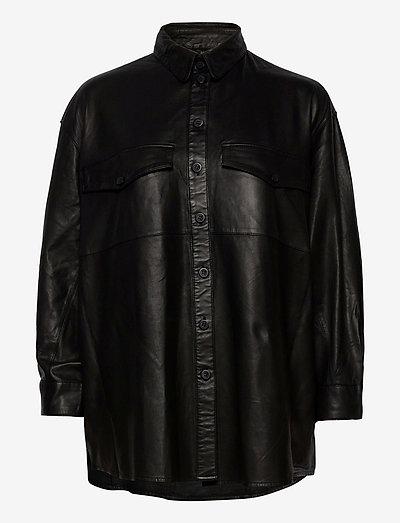 Agnes thin leather shirt - overshirts - black