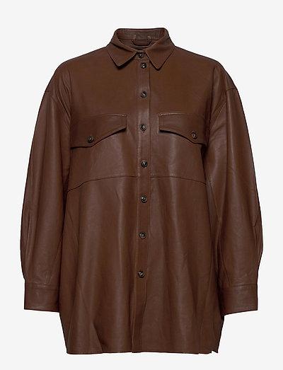 Agnes thin leather shirt - overshirts - monks robe