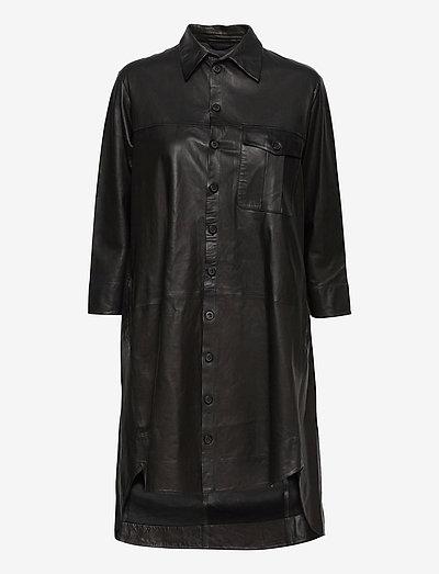 Chili thin leather dress - shirt dresses - black