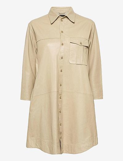 Chili thin leather dress - shirt dresses - pale khaki
