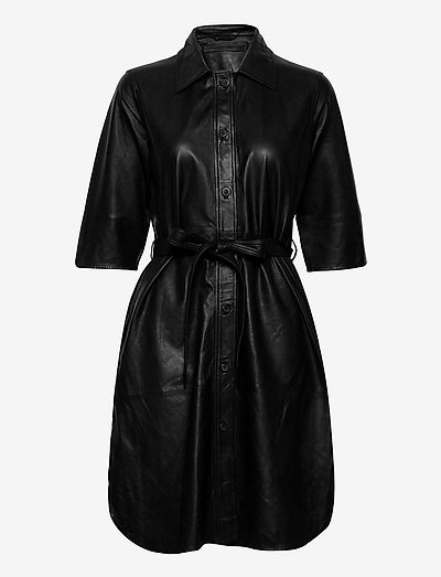 Clare thin leather dress - everyday dresses - black