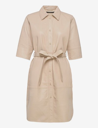 Clare thin leather dress - everyday dresses - sand shell