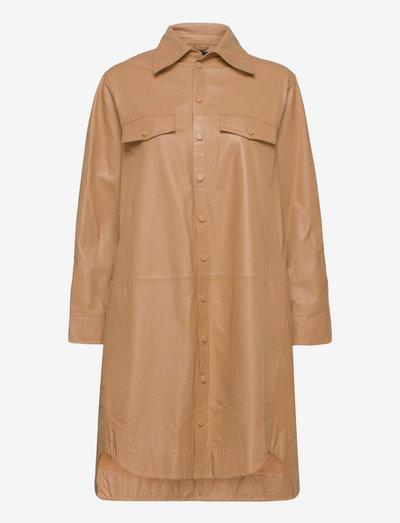 Nanna thin leather shirtdress - everyday dresses - tan
