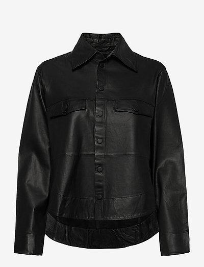 Naomi thin leather shirt - long-sleeved shirts - black