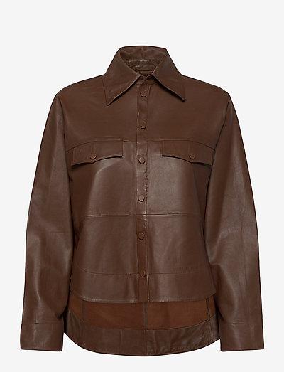 Naomi thin leather shirt - long-sleeved shirts - monks robe