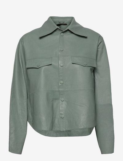 Naomi thin leather shirt - long-sleeved shirts - slate grey