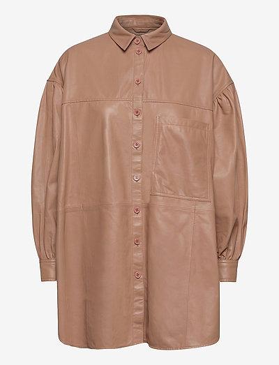 Emma leather shirt - overshirts - praline