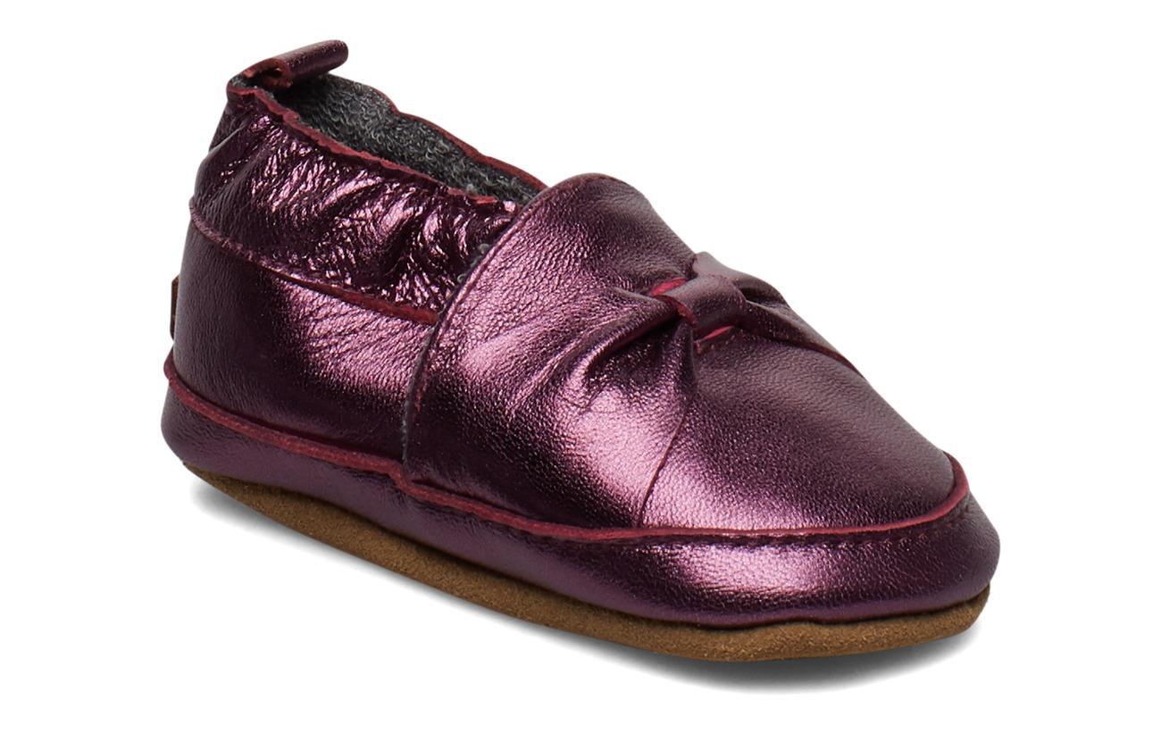Melton Leather Shoe - Bow - BORDEAUX