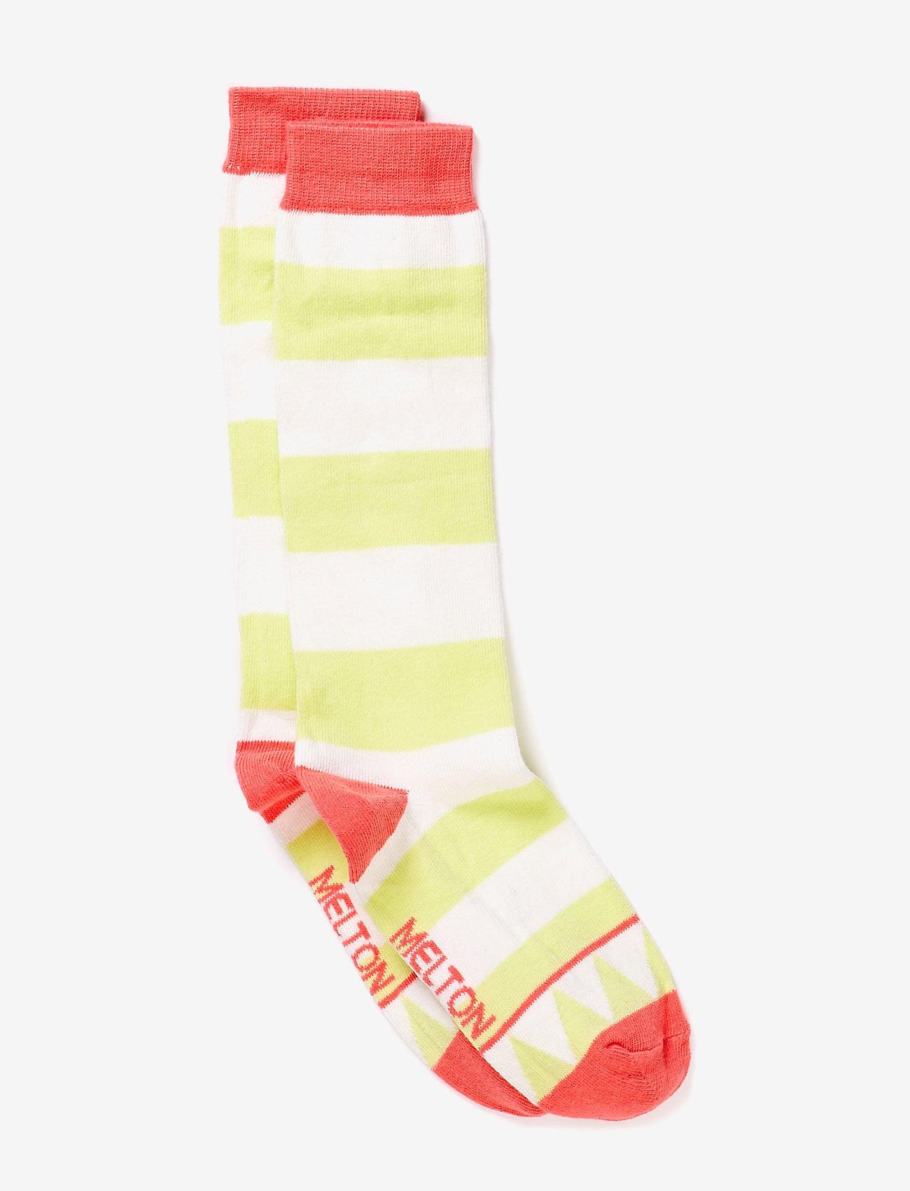 Melton - Knee-high, Triangle & Stripe - socks - 532/soft melon - 0