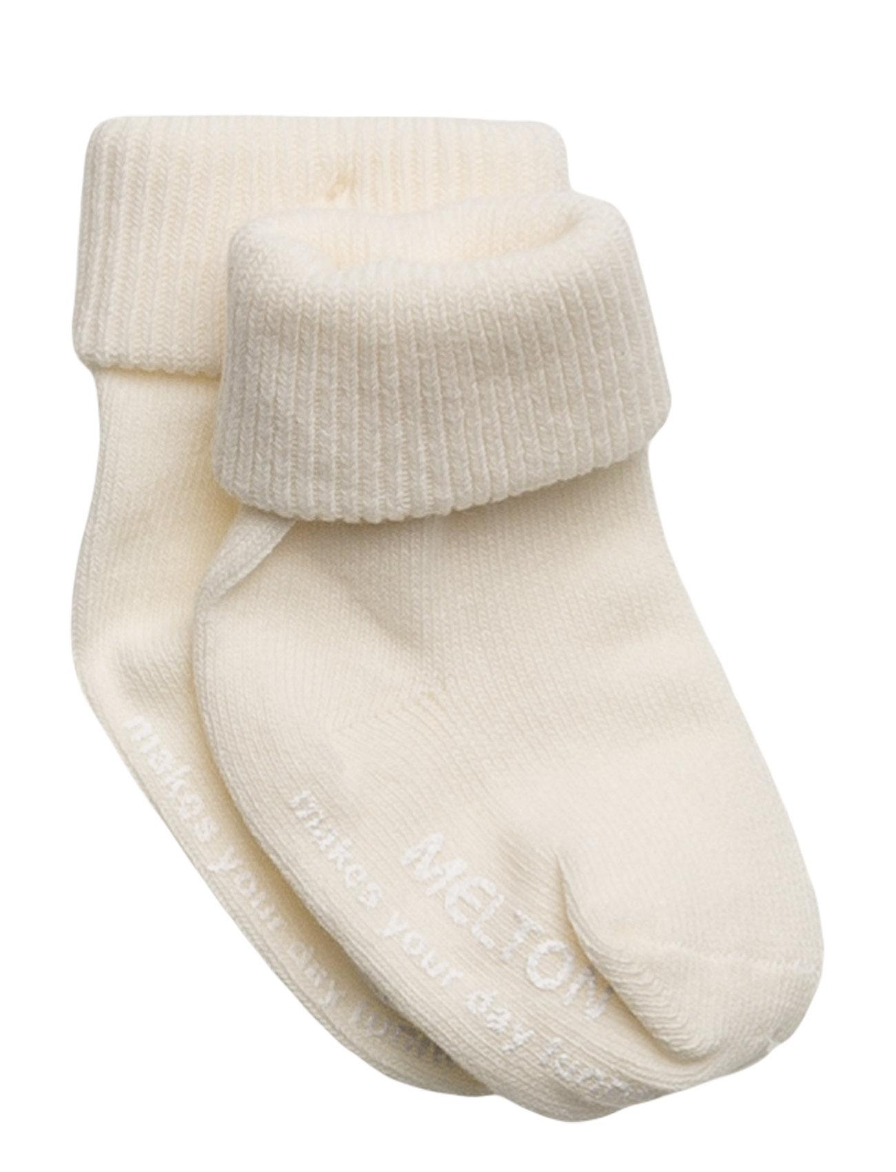 Melton Baby sock, turn-up - 410/OFFWHITE