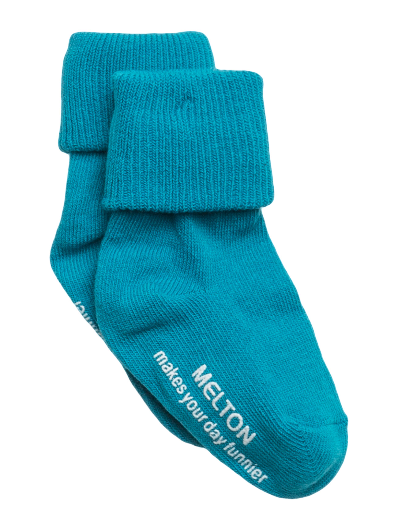 Melton Baby sock, turn-up - 289/CYANIN