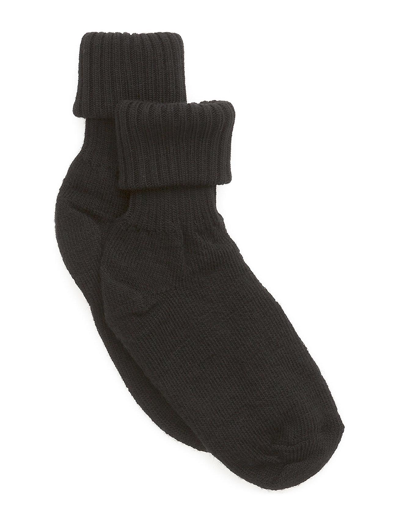 Melton Wool sock w/string edge - 190/BLACK