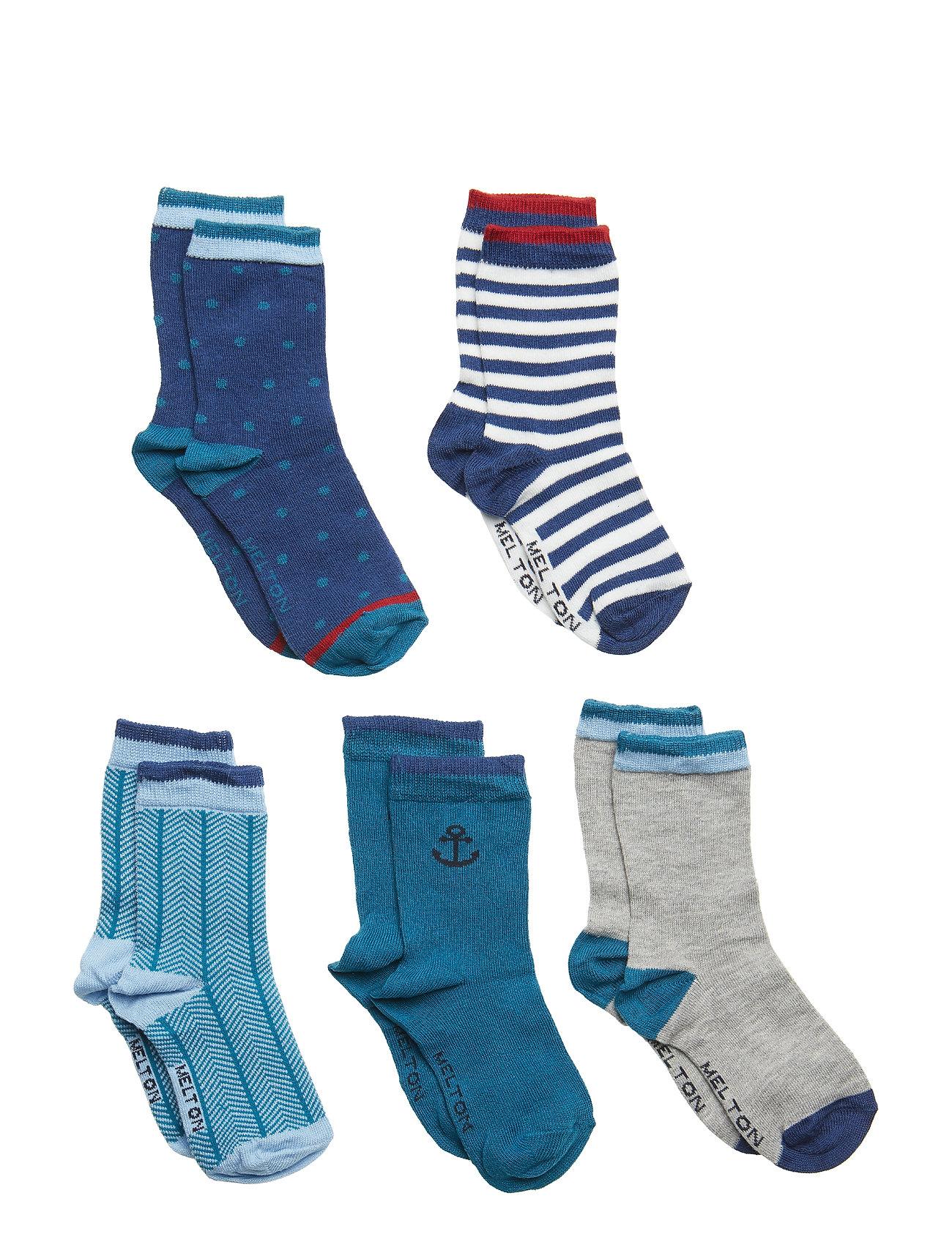 Melton NUMBERS 5-pack Socks - Boys - DARK MARINE