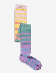 Melton - Multi stripe tights - rajstopy - green - 0